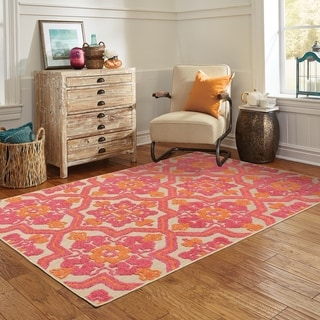 Ornate Floral Medallions Sand/Pink Polypropylene/Synthetic Indoor/Outdoor Rug (6'7 x 9'6)