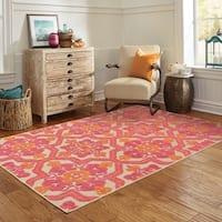 "StyleHaven Medallion Sand/ Pink Indoor-Outdoor Area Rug (6'7x9'6) - 6'7"" x 9'6"""