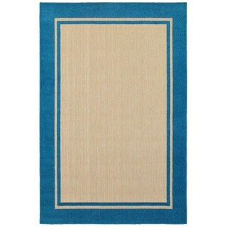 """StyleHaven Borders Sand/ Blue Indoor-Outdoor Area Rug (5'3x7'6) - 5'3"""" x 7'6"""""""