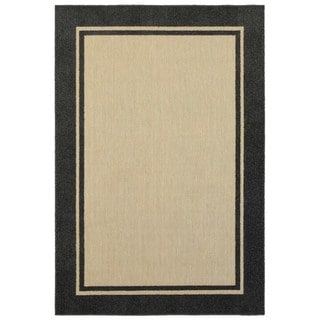 Style Haven Simply Borders Sand/Charcoal Polypropylene Indoor/Outdoor Rug (5'3 x 7'6)