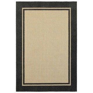 StyleHaven Borders Sand/ Charcoal Indoor-Outdoor Area Rug (5'3x7'6)