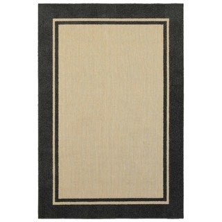 Style Haven Simply Borders Sand/ Charcoal Indoor/Outdoor Rug (6'7 x 9'6)