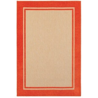 StyleHaven Borders Sand/ Orange Indoor-Outdoor Area Rug (5'3x7'6)
