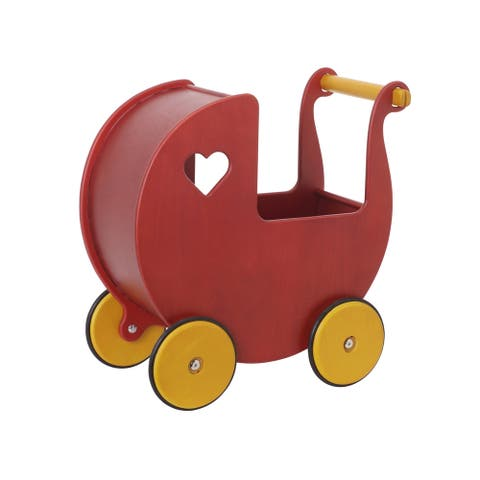 Haba Moover Red Wooden Doll Pram