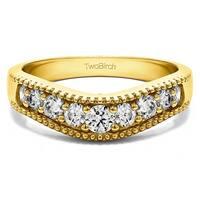 TwoBirch 14k White Gold 1/3ct TDW Diamond Vintage Contour Wedding Ring