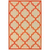 StyleHaven Lattice Sand/ Orange Indoor-Outdoor Area Rug - 5'3 x 7'6