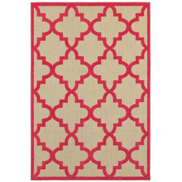 Haven Quatrafoil Lattice Sand Pink Polypropylene – Rugs
