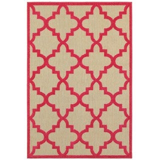 StyleHaven Lattice Sand/ Pink Indoor-Outdoor Area Rug (5'3x7'6)
