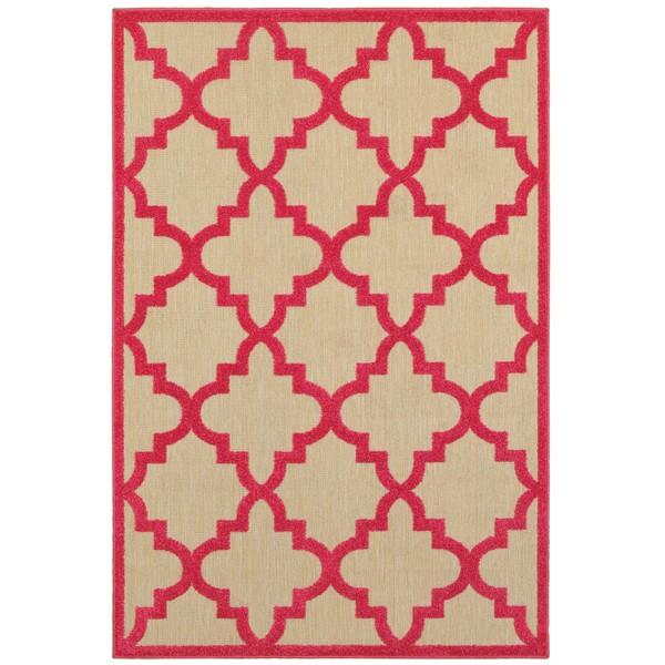 Style Haven Quatrafoil Lattice Sand Pink Polypropylene