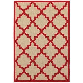 Style Haven Quatrafoil Lattice Sand/Red Polypropylene Indoor/Outdoor Rug (5'3 x 7'6)