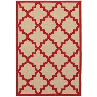 StyleHaven Lattice Sand/ Red Indoor-Outdoor Area Rug (6'7x9'6)