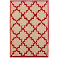 StyleHaven Lattice Sand/ Red Indoor-Outdoor Area Rug - 6'7 x 9'6