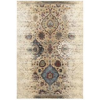 Antiqued Floral Traditions Ivory/Blue Area Rug (5'3 x 7'6)