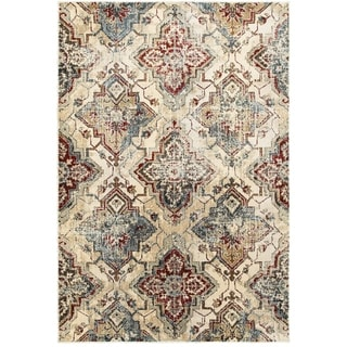 Antiqued All-over Medallions Ivory/ Gold Area Rug (5' 3 x 7' 6)