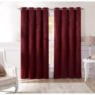 Artistic Linen 'Amelia' Burgundy Polyester Velvet-like Grommet Top Window Curtain Panel Pair
