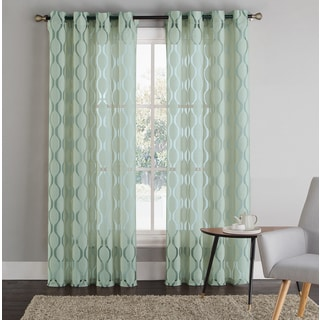 Artistic Linen 'Vertigo' Green Polyester Grommet-top Window Curtain Panel