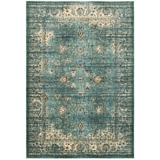 Arabesque Traditions Blue/ Ivory Area Rug (5' 3 x 7' 6)