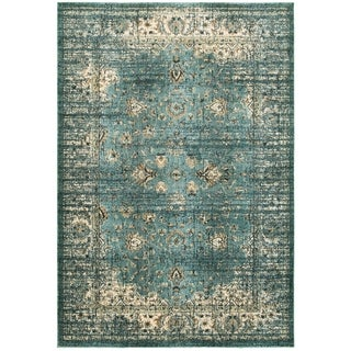 Arabesque Traditions Blue/Ivory Polypropylene/Polyester/Synthetic Fiber Area Rug (6' 7 x 9' 6)