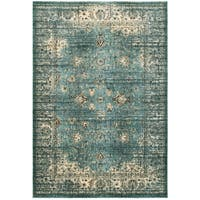 """Arabesque Traditions Blue/Ivory Polypropylene/Polyester/Synthetic Fiber Area Rug (6' 7 x 9' 6) - 6'7"""" x 9'6"""""""
