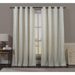Artistic Linen 84-inch 8-grommet Top Window Geometric Trellis Single Curtain Panel