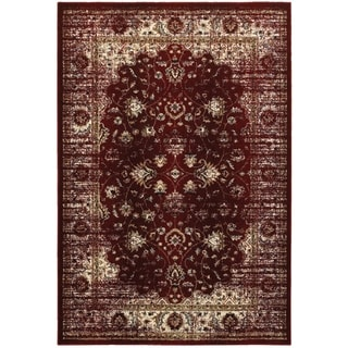 Arabesque Traditions Red/Ivory Polyester/Polypropylene/Synthetic Area Rug (5'3 x 7'6)