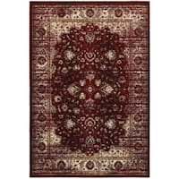 """Arabesque Traditions Red/Ivory Area Rug (6' 7 x 9' 6) - 6'7"""" x 9'6"""""""