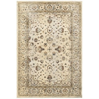 """Arabesque Traditions Ivory/ Gold Area Rug (5' 3 x 7' 6) - 5'3"""" x 7'6"""""""