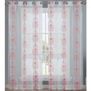 Embroidered Pattern Semitransparent 8-grommet Top Window Single Curtain Panel