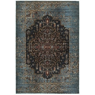 "Style Haven Regal Medallion Navy Blue Polypropylene and Polyester Area Rug (6'7 x 9'6) - 6'7"" x 9'6"""