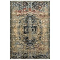 Copper Grove Fontainebleau Gold/Blue Area Rug - 5'3 x 7'6