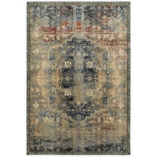 Style Haven Regal Traditions Gold/Blue Polypropylene Area Rug (6'7 x 9'6)