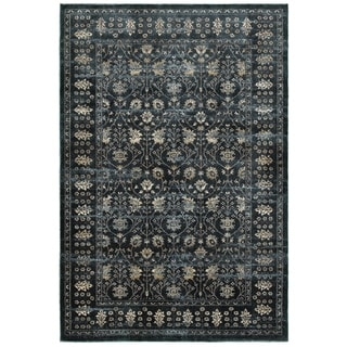 Style Haven Floral Borders Navy and Ivory Polypropylene and Polyester Area Rug (5'3 x 7'6)