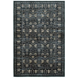 Floral Borders Navy/Ivory Area Rug (6'7 x 9'6)