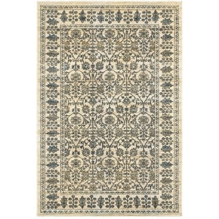 Floral Borders Ivory/Blue Area Rug (5'3 x 7'6)