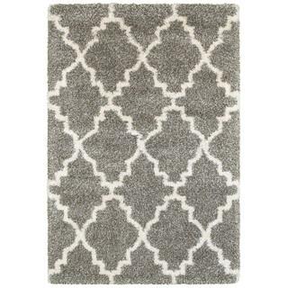 Quatrafoil Lattice Grey/Ivory Shag Rug (6'7 x 9'6)