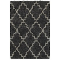"Quatrafoil Lattice Charcoal/Grey Shag Rug - 5'3"" x 7'6"""