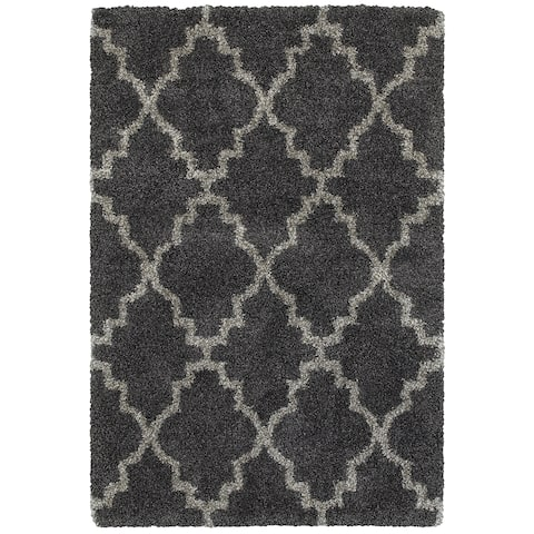 "Quatrafoil Lattice Charcoal/Grey Shag Rug (6'7 x 9'6) - 6'7"" x 9'6"""