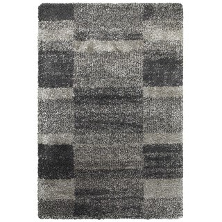 Shaded Blocks Grey/Charcoal Polypropylene Shag Rug (5'3 x 7'6)