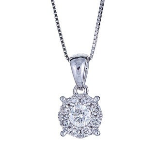 Anika and August 18K White Gold .30ct TDW Diamond Pendant Necklace (G-H, SI1-SI2)