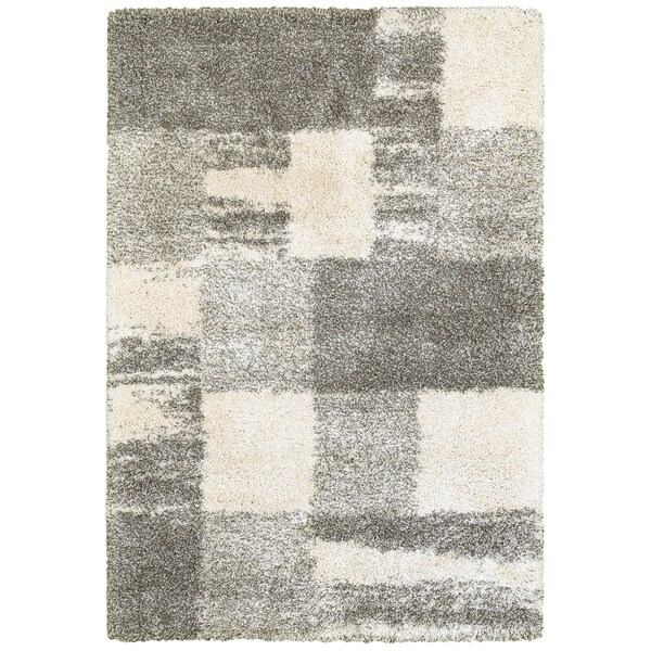 "Porch & Den Oxford Ivory and Grey Blocks Shag Rug - 6'7"" x 9'6"""
