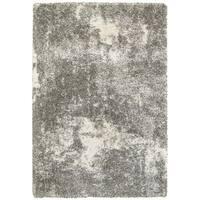 Clay Alder Home Cedar Granite Light Grey and Ivory Polypropylene Shag Rug - 6'7 x 9'6