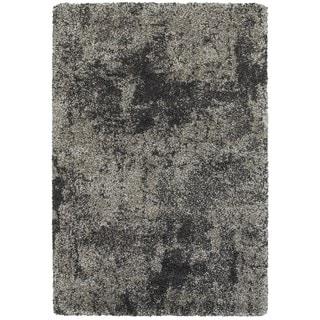 Granite Dark Grey/ Charcoal Polypropylene Shag Rug (6'7 x 9'6)