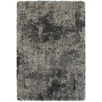 Granite Dark Grey/ Charcoal Polypropylene Shag Rug - 6'7 x 9'6