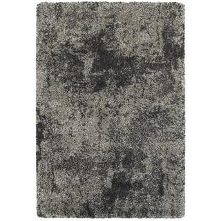 Granite Dark Grey/ Charcoal Polypropylene Shag Rug - 6'7 x 9'6