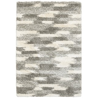 Dappled Streaks Grey/Ivory Polypropylene Shag Rug (5'3 x 7'6)