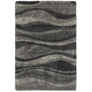 Style Haven Shadow Waves Grey/Charcoal Polypropylene Shag Rug (5'3 x 7'6)