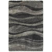 Style Haven Shadow Waves Grey/Charcoal Polypropylene Shag Rug - 5'3 x 7'6