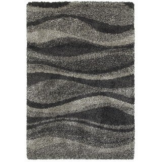 Style Haven Shadow Waves Grey/Charcoal Polypropylene Shag Rug (5'3 x 7'6)