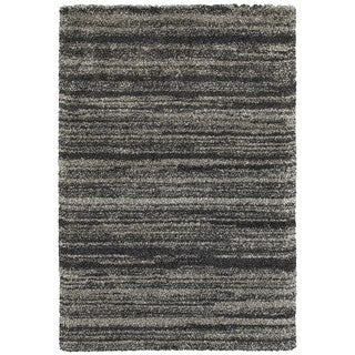 Style Haven Shadow Stripes Grey/Charcoal Polypropylene Shag Rug (6'7 x 9'6)