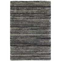 Style Haven Shadow Stripes Grey/Charcoal Polypropylene Shag Rug - 6'7 x 9'6